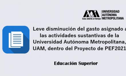 Leve disminución del gasto asignado a las actividades sustantivas de la Universidad Autónoma Metropolitana, dentro del Proyecto de PEF2021